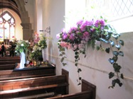 the nave of Brackenfield church during the flower festival